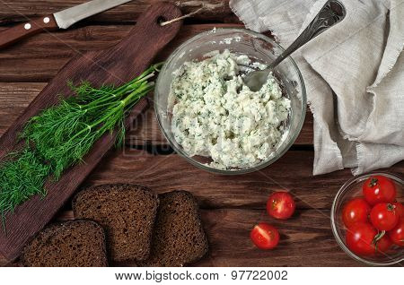 Cottage Cheese, Cherry Tomatoes, Dill And Bread On Wooden Background