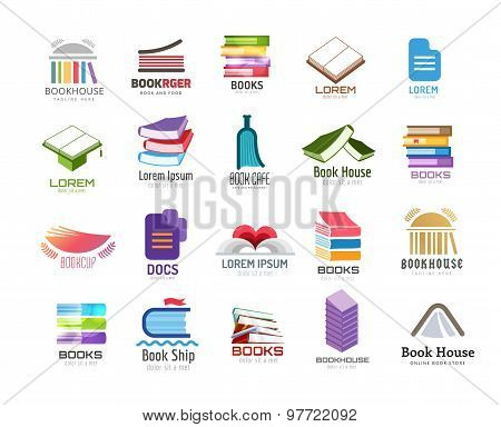 Book vector logo template set. Back to school. Education, university, college symbol or knowledge, b