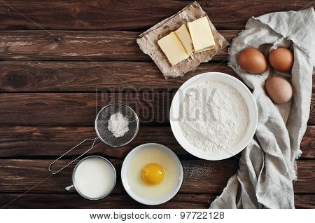 Ingredients For Making Pancakes Or Cake