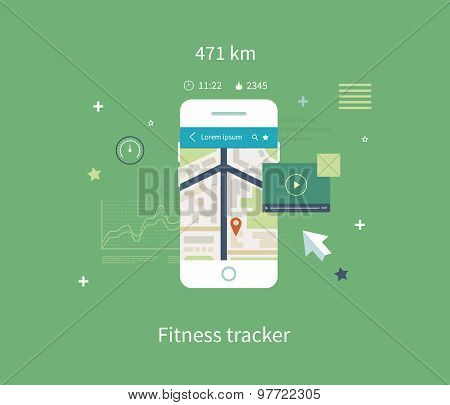 Vector mobile phone - fitness app concept on touchscreen.