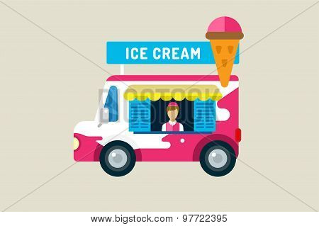 Ice cream car icon. Cold milk product, vanilla symbol, auto transport, transportation, mobile restau