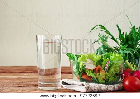 Vegetable Salad With A Glass Of Pure Water