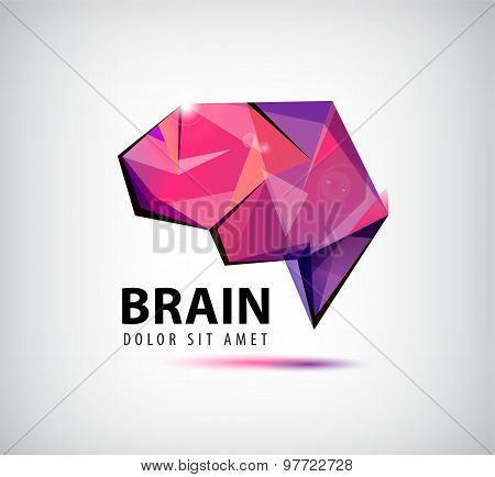 vector crystal brain logo, icon, illustration.