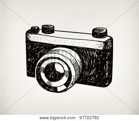 vector retro hand drawn hipster photo camera