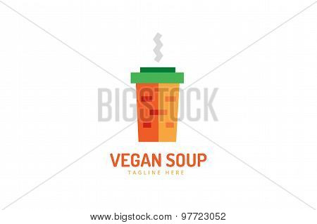 Vegan eco soup pack logo icon. Nature product, food symbol or vitamin, hot fastfood, green, vegetabl