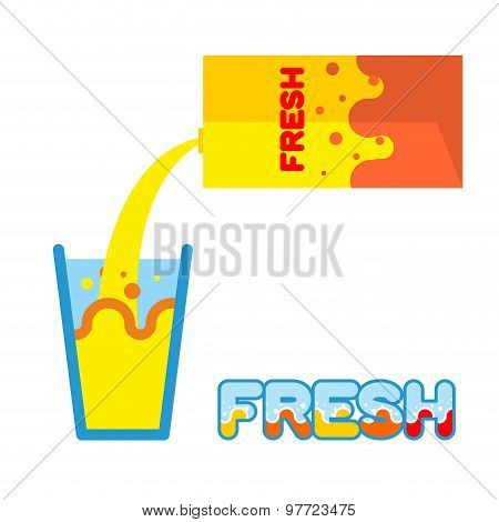 Fresh Juice. Pour In A Glass Of Fresh Juice From  Packaging. Vector Illustration. Splash In A Glass.