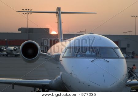 Airplane Nose Sunset