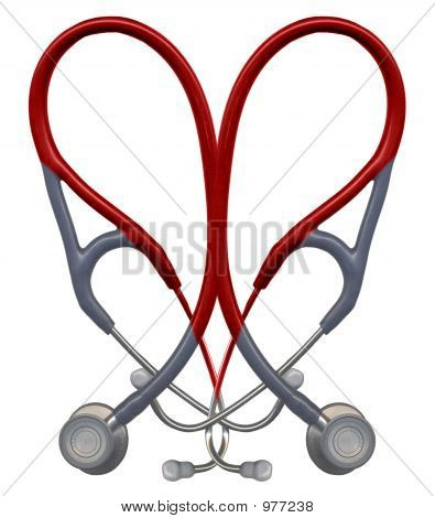 Red Stethoscope Heart