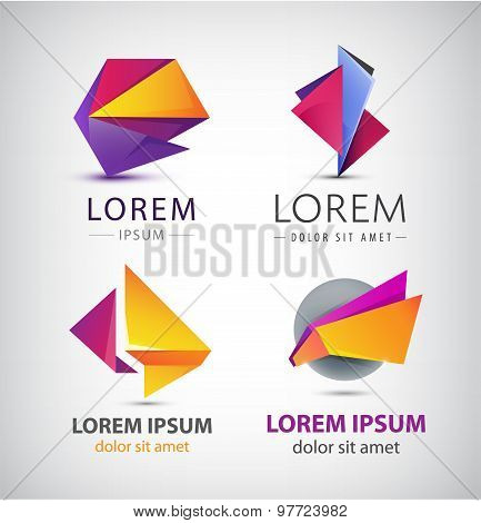 Vector colorful origami icon set. Design elements.