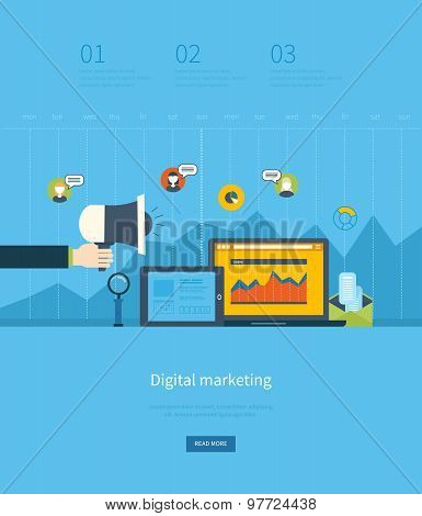 Flat design illustration concepts for business analysis and planning, digital marketing, team work,