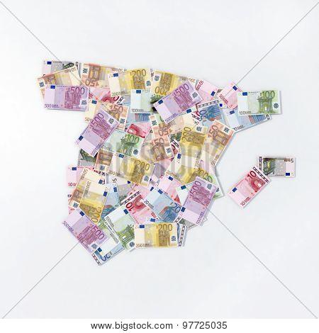 Spain Map Euro Banknotes