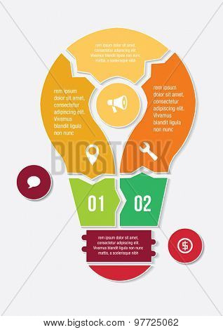 Light bulb infographic with icons. Vector illustration.