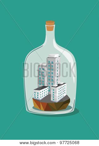Low polygon city inside a bottle. Vector illustration.