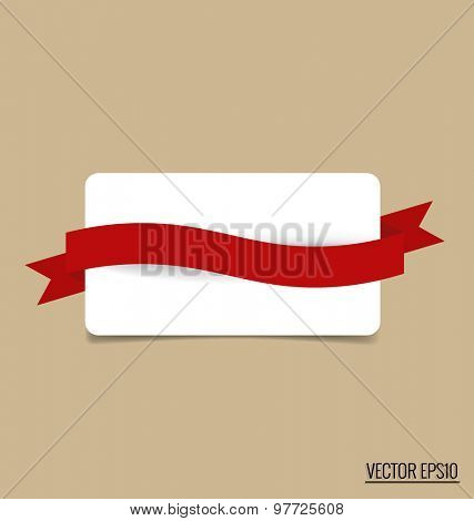 Gift card note with red ribbon. Vector illustration.