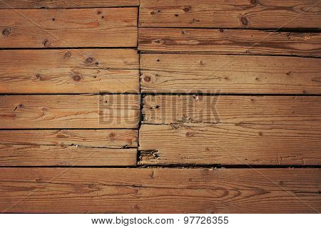Vintage Wooden Panel With Horizontal Planks And Gaps With Shade