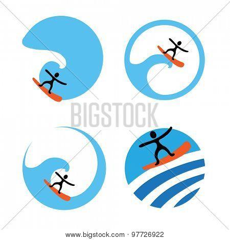 surf logo, vector icon set