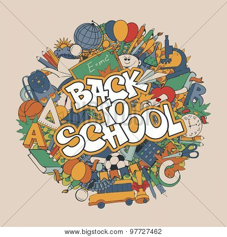 Back to school retro styled doodle background with stationery and other education elements. Vector illustration.