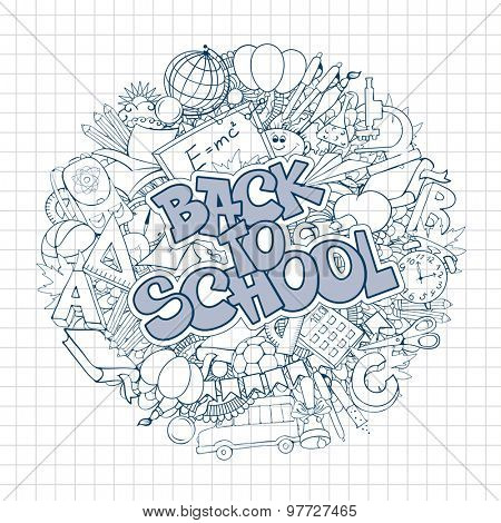 Back to school retro styled doodle background with stationery and other education elements. Circular composition. Monochrome vector illustration.