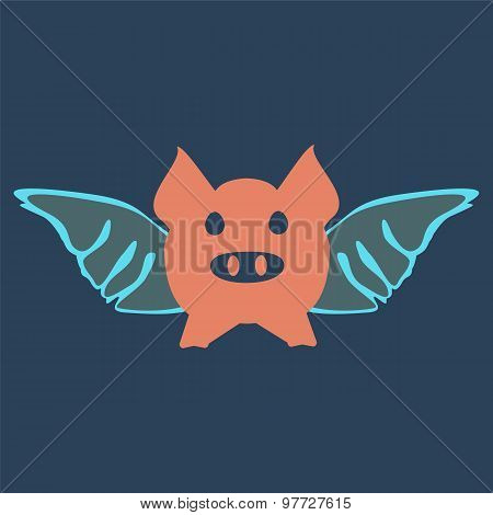 Flying Pig Cartoon. Wings Concept.