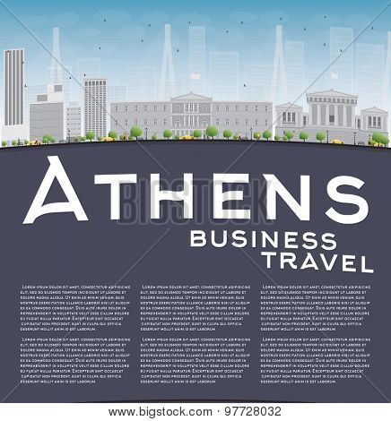Athens Skyline with Grey Building, Blue Sky and copy space. Business travel concept. Vector Illustration