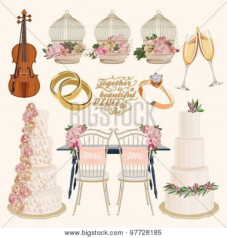 Vector vintage set of decorative wedding elements in vintage style