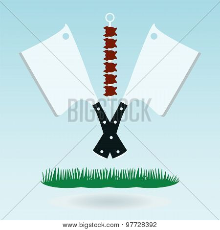 Meat Cleaver Knife, Axe For Meat, Meat Chopper. Grass Concept.