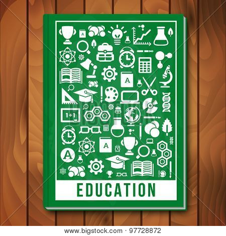 Vector Education Concept. E-learning and Science Icons