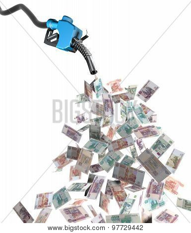 Gas Nozzle With Ruble Banknotes