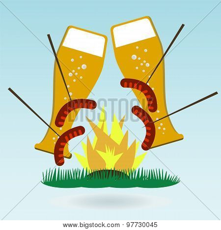 Grilled Sausages On Forks, Beer, Fire. Grass Concept.