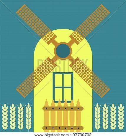 Windmill Modern Flat Icon, Traditional Dutch Style