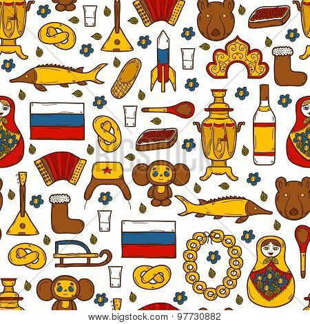 Seamless background with cute hand drawn objects on Russia theme: balalaika, vodka, bear, ushanka, m