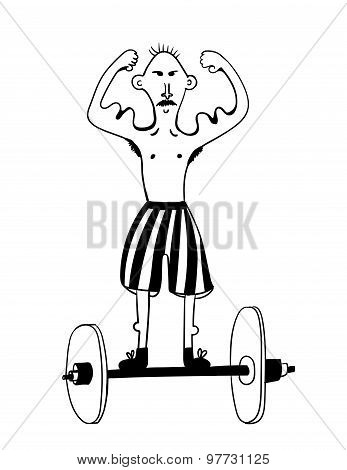 Athlete weightlifter - bouncer comic vector illustration