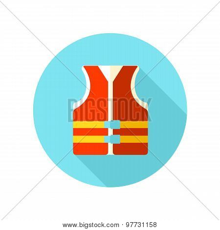 Life jacket flat icon with long shadow