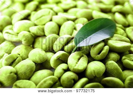 Heap of green coffee beans with leaf close up
