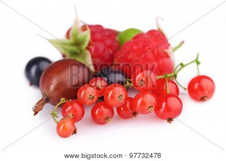 Heap of fresh berries isolated on white