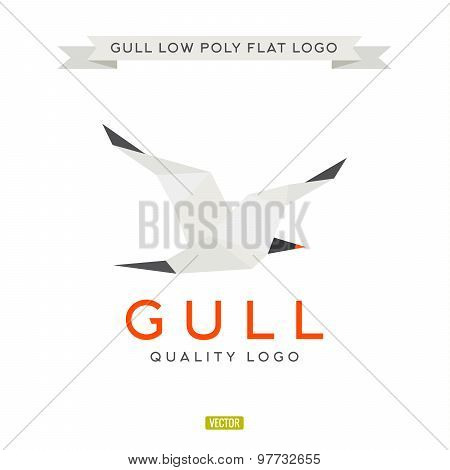 Seagull low poly, polygon, logo illustration geometry