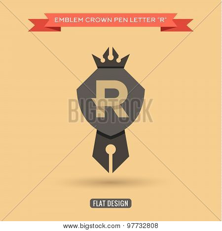 Logo emblem crown pen the letter R education