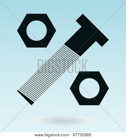 Nut With Screw Icon Design, Percent Symbol