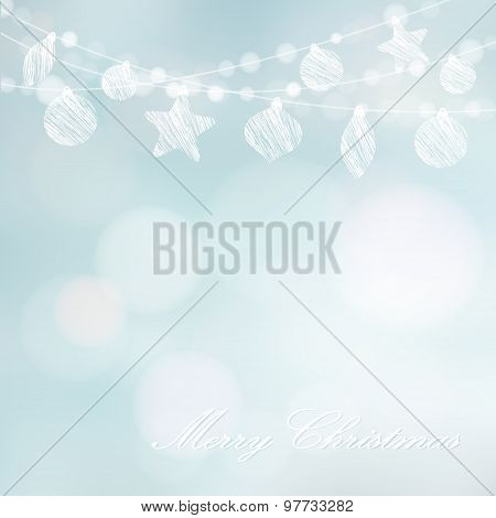 Christmas Greeting Card With Garland Of Lights And Christmas Balls, Vector