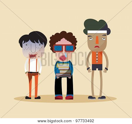 Funny Stylish Cartoon Characters Of A Nerd, Ugly Jerk, And Cheap Looking Bully Young Children Standi