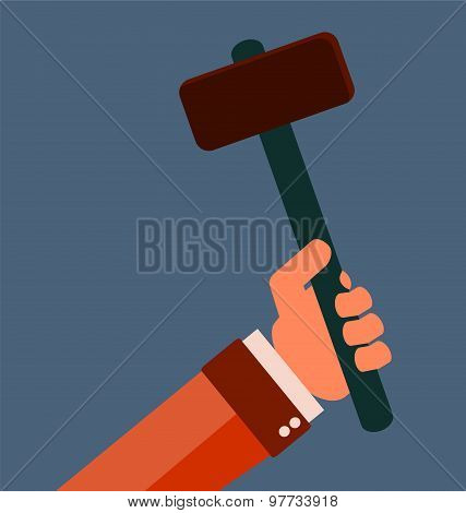 Hammer In Hand. Repair Equipment. Rubber Handle.