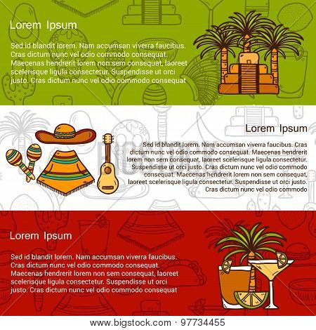 Vector travel mexican concept with hand drawn objects and background on Mexico theme: sombrero, poncho, tequila, coctails, taco, skull, guitar, pyramid, avocado, lemon, chilli pepper, cactus, injun hat, palm for your design