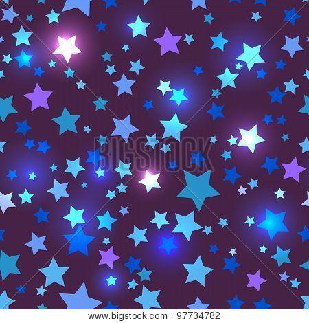 Seamless with shiny blue stars