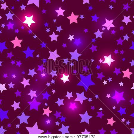 Seamless with shiny purple stars