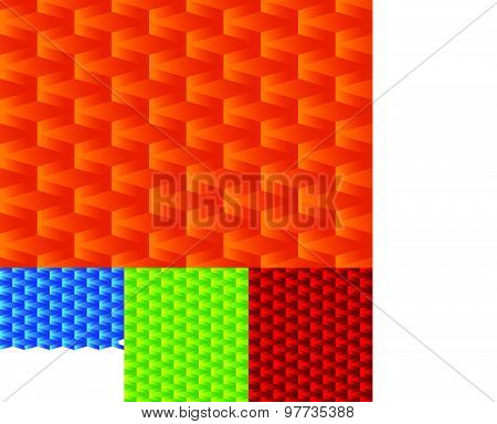 Set Of Seamlessly Repeatable Geometric Patterns, Orange, Blue, Green, Red Backgrounds.