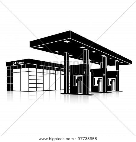 Silhouette Petrol Station With A Small Shop And Reflection