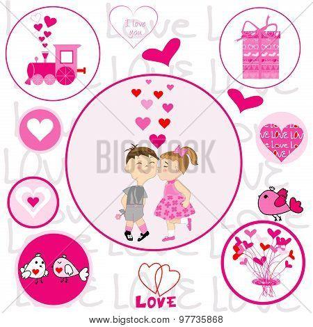 Set Of Round Frames With Valentine Elements