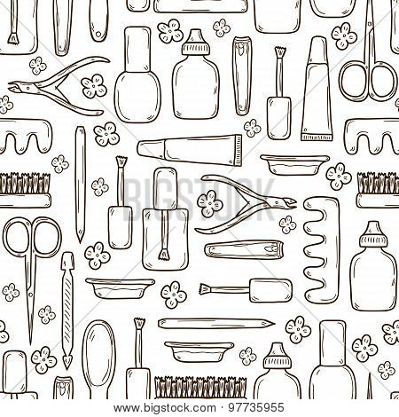 Seamless background with cute hand drawn objects on manicure pedicure theme: clippers, polish, file,