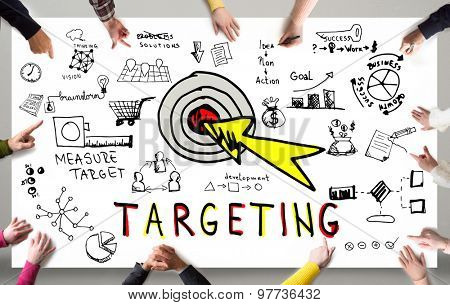 Targeting concept, Business people around a table