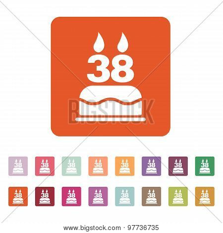 The birthday cake with candles in the form of number 38 icon. Birthday symbol. Flat